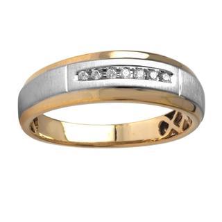 Bridal Symphony 10k Two-tone Gold Men's Diamond Accent Wedding Band (I-J, I-2)