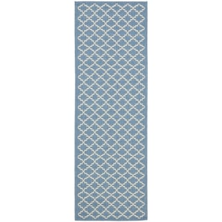 Safavieh Blue/ Beige Indoor Outdoor Rug (2'2 x 12')