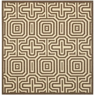 Safavieh Brown/ Natural Indoor Outdoor Rug (6'7 Square)