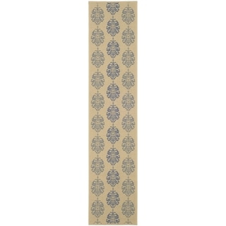 Safavieh Natural/ Blue Indoor Outdoor Rug (2'2 x 14')