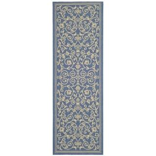Safavieh Blue/ Natural Indoor Outdoor Rug (2'2 x 12')