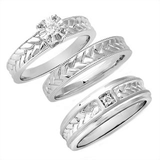 Sterling Silver 1/6ct TDW Diamond His and Hers Bridal-style Ring Set (I-J, I2-I3)