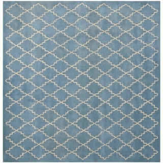 Safavieh Handmade Moroccan Blue Grey Wool Rug (7' Square)