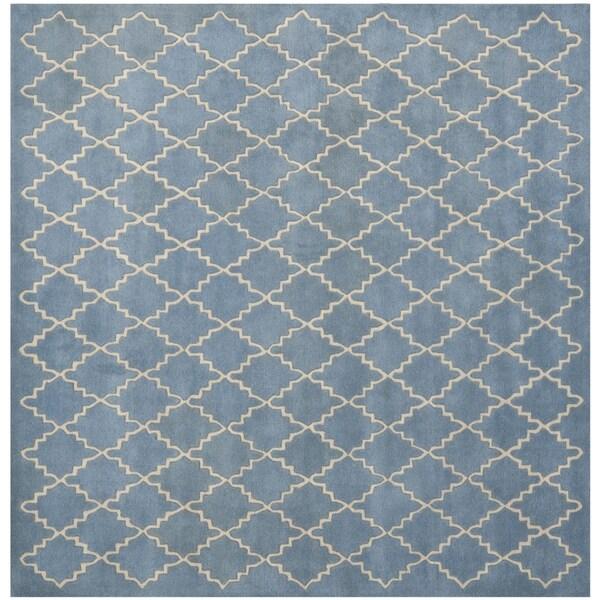 Safavieh Handmade Moroccan Chatham Blue Grey Wool Rug (7' Square)