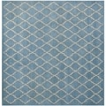 Safavieh Handmade Moroccan Chatham Blue Grey Wool Rug (7' Square)