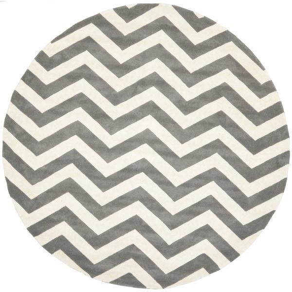 safaviehhandmademoroccanchathamchevrondarkgreyivorywoolrugroundbaacaedfeaf, round gray bath rug, round gray chevron rug, round gray rug