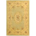 Safavieh Handmade French Bouquet Light Green/ Beige Wool Rug (9'6 x 13'6)