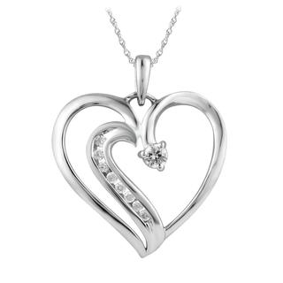 10k White Gold 1/8ct TDW Diamond Heart Pendant (I-J, I2-I3)