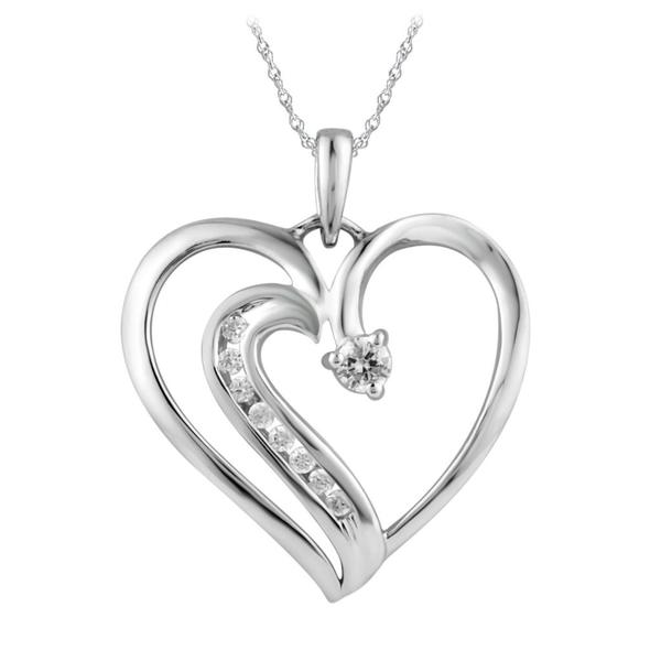 Bridal Symphony 10k White Gold 1/8ct TDW Diamond Heart Pendant (I-J, I2-I3)