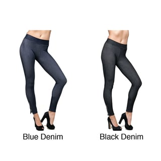 Stanzino Women's Ankle Zip Stretch Denim Leggings