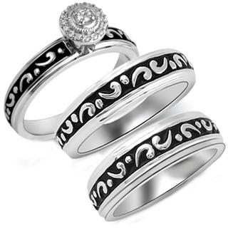 Sterling Silver 1/10ct TDW Diamond His and Her Matching Engagement and Wedding Band (I-J, I2-I3)