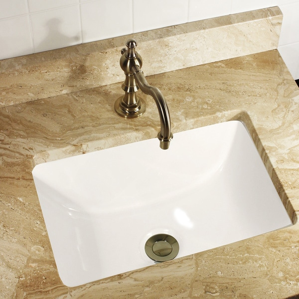 ... Petite 16x11 Rectangle Ceramic Undermount Vanity Lavatory Sink