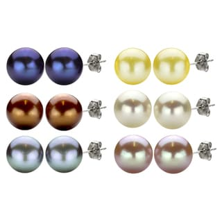 DaVonna Sterling Silver 11-12mm Freshwater Pearl Earrings with Gift Box