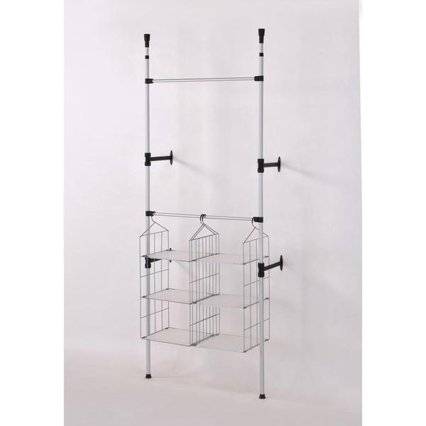 Modern Stainless Steel Telescoping Clothing and Towel Rack