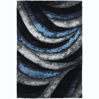 Contemporary Mandara Handwoven Geometric Blue/Gray Shag Rug