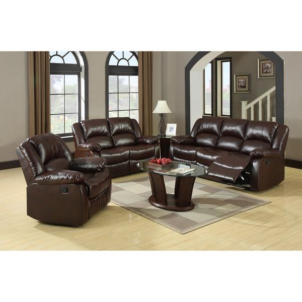 Furniture of America Winsley 3-piece Classic Plush Cushion Recliner Sofa Set