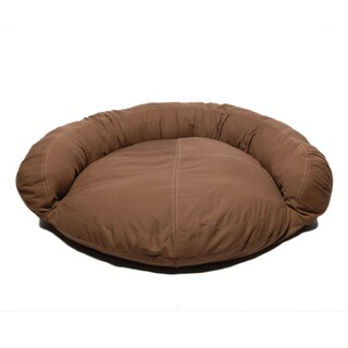 Carolina Pet Chocolate Brown Twill Saddle Stitch Bolster Pet Bed