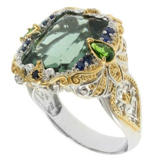 Michael Valitutti Two-tone Forest Green Quartz Ring