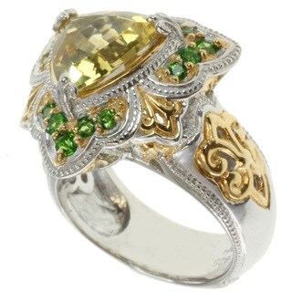 Michael Valitutti Two-tone Helidor and Chrome Diopside Ring