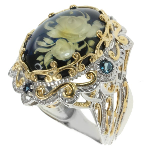 Michael Valitutti Two-tone Blue Amber Ring