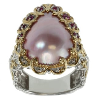 Michael Valitutti Two-tone Pink Mabe Pearl Ring
