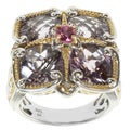 Michael Valitutti Two-tone Pink Tourmaline and Amethyst Ring
