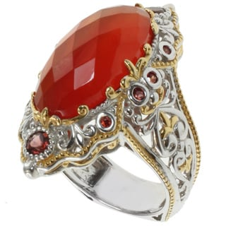 Michael Valitutti Two-tone Orange Chalcedony Ring