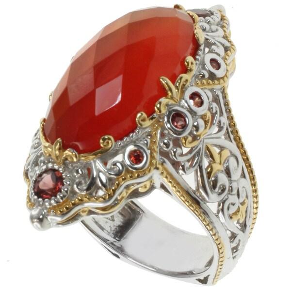 Michael Valitutti Two-tone Orange Chalcedony Ring