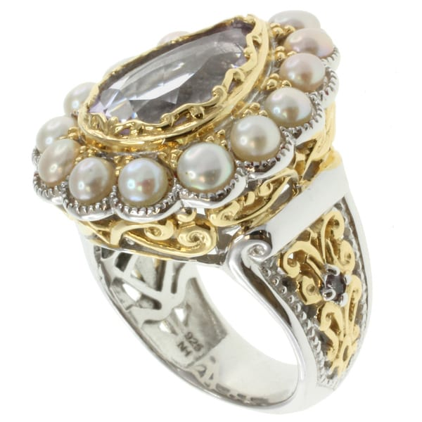 Michael Valitutti Two-tone Rose de France and Pearl Ring