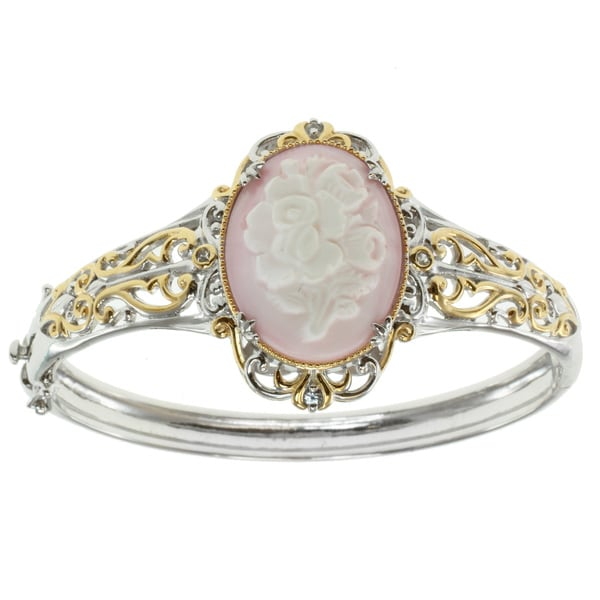 Michael Valitutti Two-tone Shell Cameo Hinged Bangle