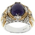 Michael Valitutti Two-tone Purple Jade and Sapphire Ring