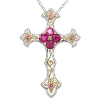Michael Valitutti Two-tone Pink Sapphire, Rubellite and Diamond Pendant