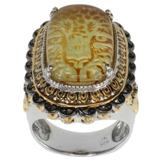 Michael Valitutti Two-tone Carved Amber and Ruby Ring