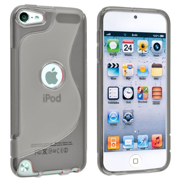 Insten Gray S Shape TPU Rubber Candy Skin Glossy Case Cover For Apple iPod Touch 5th/ 6th Gen