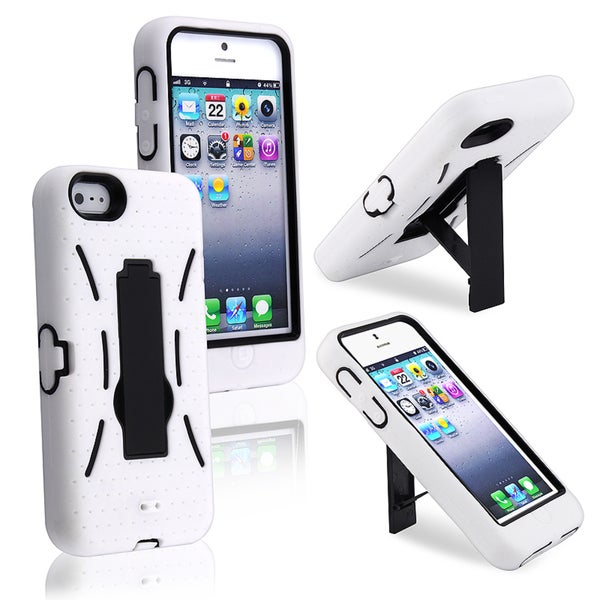 INSTEN Protective Black/ White Hybrid Phone Case Cover with Stand for Apple iPhone 5