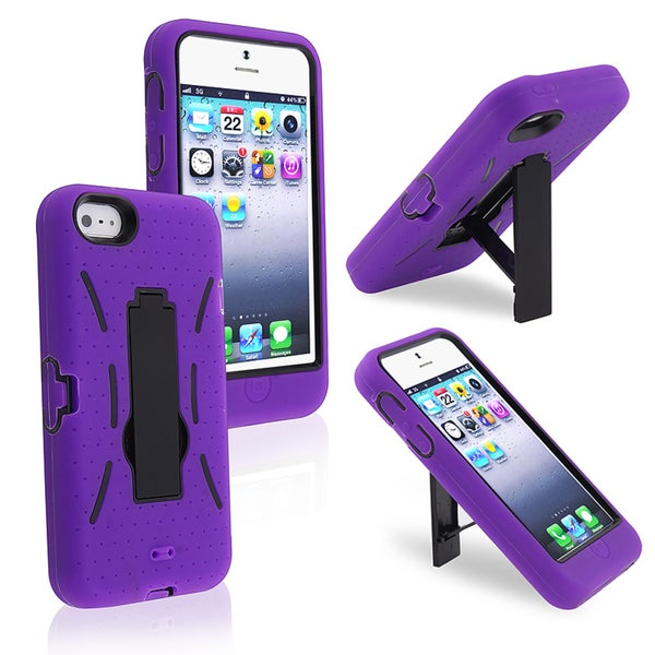 INSTEN Black/ Purple Hybrid Phone Case Cover with Stand for Apple iPhone 5