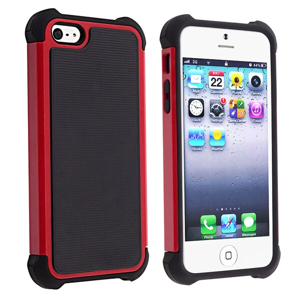 BasAcc Black Skin/ Red Hard Hybrid Armor Case for Apple iPhone 5