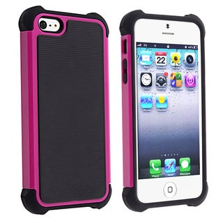 BasAcc Black Skin/ Hot Pink Hard Hybrid Armor Case for Apple iPhone 5