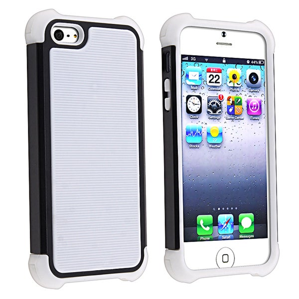 BasAcc White Skin/ Black Hard Hybrid Armor Case for Apple iPhone 5