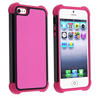BasAcc Hot Pink Skin/ Black Hard Hybrid Armor Case for Apple iPhone 5