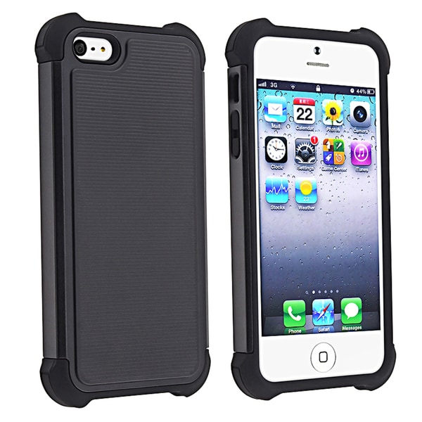 BasAcc Black Skin/ Black Hard Hybrid Armor Case for Apple iPhone 5
