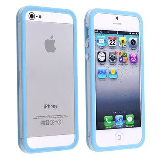 BasAcc Clear/ Sky Blue Bumper TPU Case with Button for Apple iPhone 5/ 5S