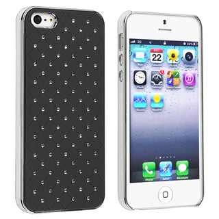BasAcc Black Quilted Leather with Diamond Case for Apple iPhone 5