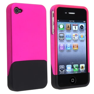 BasAcc Hot Pink/ Black Snap-on Case for Apple iPhone 4/ 4S
