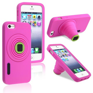 INSTEN Hot Pink Camera Soft Silicone Phone Case Cover for Apple iPhone 5