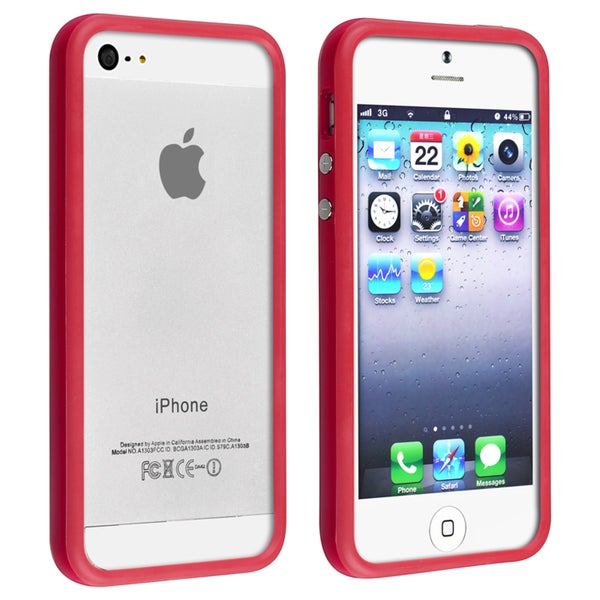 INSTEN Red Bumper TPU Phone Case Cover with Aluminum Button for Apple iPhone 5/ 5S