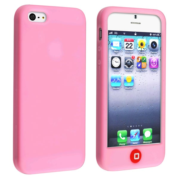 INSTEN Light Pink Soft Silicone Phone Case Cover with Home Button for Apple iPhone 5