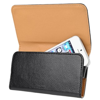 BasAcc Black Universal Leather Wallet Pouch Case Cover for HTC/ LG/ Samsung Phones