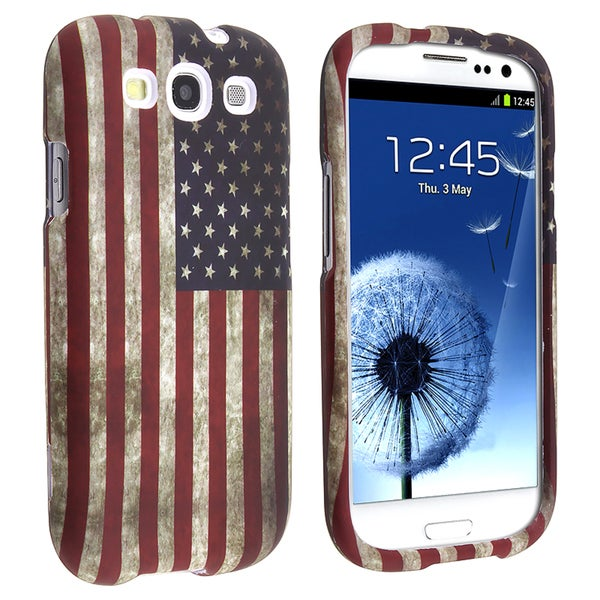 INSTEN US Flag Snap-on Rubber Coated Phone Case Cover for Samsung Galaxy S III/ S3