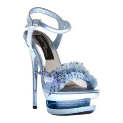 Women's Highest Heel Diamond-91 Baby Blue Genuine Satin